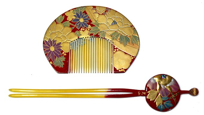 Japanese Antiquities Japanese Antique Hand Painted Comb