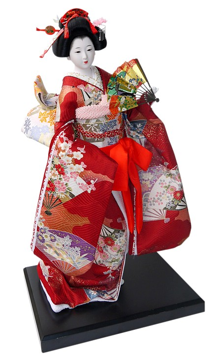 Japanese Kimono Doll With Golden Fan 198o S Japanese