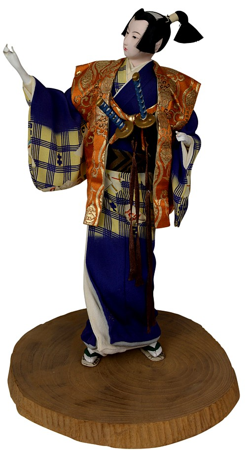 japanese traditional antique samurai doll with katana
