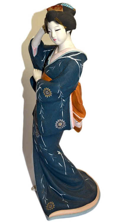 Japanese Lady Dressed With Dark Blue Kimono Japanese