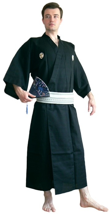 japanese man's kimono and obi belt
