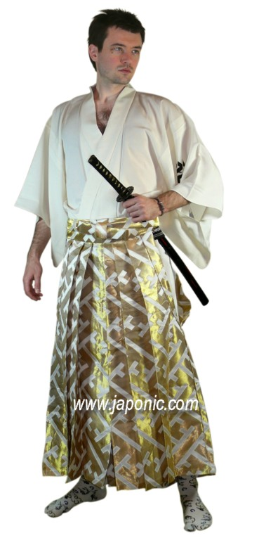 This rich patterned hakama made from rayon and nylon with silver and