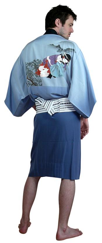 Hand painted with silver birds Men/'s Silk Kimono